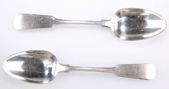 A PAIR OF SCOTTISH PROVINCIAL SILVER DESSERT SPOONS