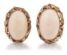 A PAIR OF 1970s CORAL CLIP EARRINGS