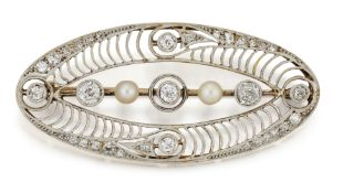 A BELLE EPOQUE DIAMOND AND BUTTON PEARL BROOCH