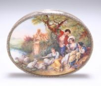 A SILVER AND ENAMEL BOX