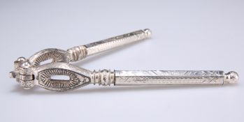 A PAIR OF VICTORIAN SILVER-HANDLED NUT CRACKERS
