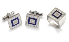 A LAPIS LAZULI AND DIAMOND CUFFLINK AND RING SUITE