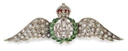 A DIAMOND AND ENAMEL ROYAL AIR FORCE WINGS SWEETHEART BROOCH