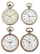 A GROUP OF FOUR ASSORTED OPEN FACED POCKET WATCHES