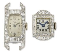 TWO DIAMOND SET WATCHES BY PICARD CADET & MAPPIN