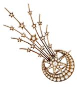 A LATE 19TH CENTURY SEED PEARL AND DIAMOND AIGRETTE BROOCH, c.1880