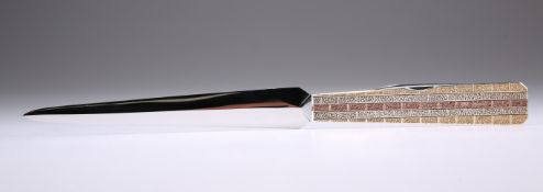 A 19TH CENTURY GOLD-MOUNTED NEPHRITE JADE LETTER OPENER