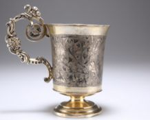 A RUSSIAN SILVER-GILT AND NIELLO CUP OF THE BRONZE HORSEMAN