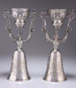 A LARGE PAIR OF GEORGE V SCOTTISH SILVER WAGER CUPS