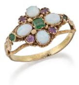 AN EMERALD, OPAL AND RUBY CLUSTER RING