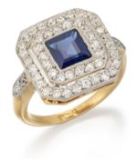 AN ART DECO SAPPHIRE AND DIAMOND CLUSTER RING