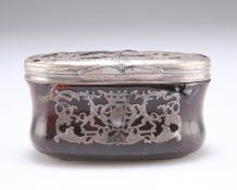 A 19TH CENTURY TORTOISESHELL AND PIQUE WORK TRINKET BOX AND COVER