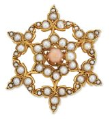 A LATE VICTORIAN CORAL AND SPLIT PEARL BROOCH