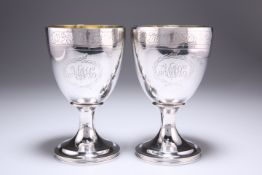 A PAIR OF PROVINCIAL GEORGE III SILVER GOBLETS