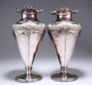 A LARGE PAIR OF ART NOUVEAU SILVER-PLATED VASES,