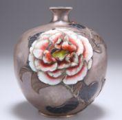 A JAPANESE SILVER AND ENAMEL GLOBULAR FLOWER VASE, MEIJI PERIOD