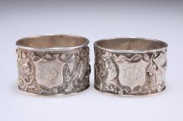 A PAIR OF CHINESE SILVER NAPKIN RINGS