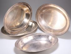 A SET OF FOUR FRENCH SILVER-PLATED SERVING DISHES