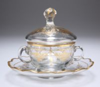 A GILDED CUP, COVER AND SAUCER