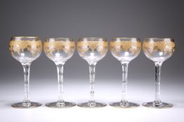 A SET OF FIVE GILDED HOCK GLASSES
