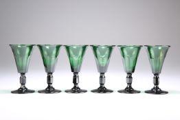 A SET OF SIX 19TH CENTURY BRISTOL GREEN GLASS WINES