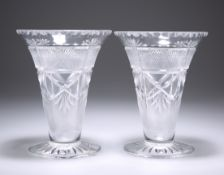 A PAIR OF VICTORIAN CUT-GLASS VASES