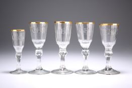 FOUR EARLY 19TH CENTURY WINE GLASSES AND A SINGLE LIQUEUR GLASS