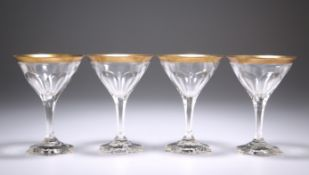 """A SET OF FOUR ART DECO BACCARAT """"COMPIEGNE"""" COCKTAIL GLASSES, CIRCA 1920, each bowl with slice-"""