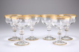 A SET OF SIX LATE 19TH CENTURY VENETIAN CHAMPAGNE GLASSES