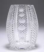 AN EARLY 20TH CENTURY CONTINENTAL CUT-GLASS VASE, PROBABLY BOHEMIAN, barrel-shaped, with hobnail