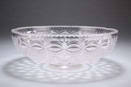 A LARGE CUT-GLASS BOWL, LATE 19TH CENTURY, circular, cut with a diamond pattern. 29cm wide