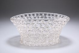 A LATE 18TH CENTURY LIEGE A TRAFORATO GLASS BASKET, oval, openwork with trellis trailed sides, out-