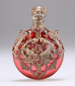 A GILT-METAL MOUNTED CRANBERRY GLASS SCENT