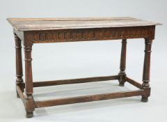 AN OAK REFECTORY TABLE, 18TH CENTURY AND LATER