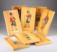 EIGHT HAND PAINTED IMAGES ON WOODEN PANELS OF SOLDIERS OF THE GORDON HIGHLANDERS