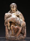 A POLYCHROME CARVED PINE GROUP OF MARY AND THE DYING JESUS
