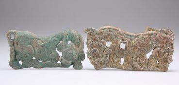 TWO INNER OR OUTER MONGOLIA BRONZE PLAQUES, WARRING STATES PERIOD AND HAN DYNASTY