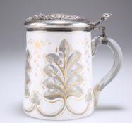 A BOHEMIAN GLASS LIDDED TANKARD
