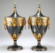 A PAIR OF GEORGIAN TOLE CHESTNUT URNS AND COVERS