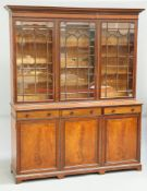 A LATE VICTORIAN INLAID MAHOGANY LIBRARY BOOKCASE, BY MAPLE & CO