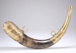 A 19TH CENTURY BRASS MOUNTED POWDER HORN