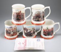 FIVE BONE CHINA TANKARDS CREATED FOR THE ARMY BENEVOLENT FUND BY DANBURY MINT