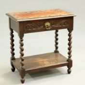 A VICTORIAN CARVED OAK HALL TABLE