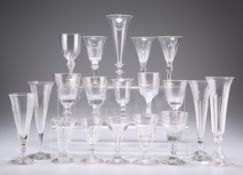 A GROUP OF NINETEEN 18TH CENTURY AND LATER WINE GLASSES