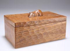 A VINTAGE MOUSEMAN OAK TRINKET BOX