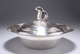 A DANISH SILVER VEGETABLE TUREEN AND COVER BY GEORG JENSEN