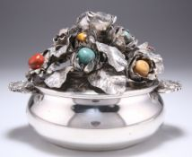 A MODERNIST ITALIAN SILVER AND HARDSTONE BOWL AND COVER