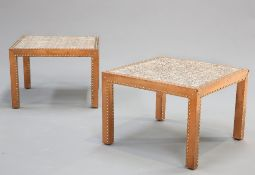 A PAIR OF COPPER MOUNTED TILE TOPPED OCCASIONAL TABLES