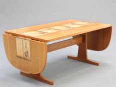 GANESO MOBLER A TEAK AND TILE INSET DINING TABLE