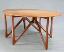 KURT OSTERVIG A DANISH 1960S OVAL GATELEG DINING TABLE